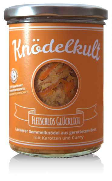 Knödelkult Fleischlos Glücklich - Semmelknödel mit Karotten und Curry 350g Glas - gerettetes Brot