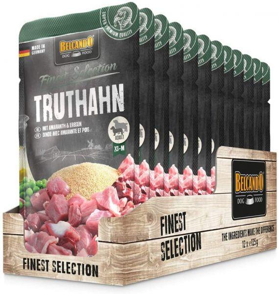 Belcando Frischebeutel [12x125g Truthahn mit Amaranth & Erbsen] | Nassfutter für Hunde | Feuchtfutte
