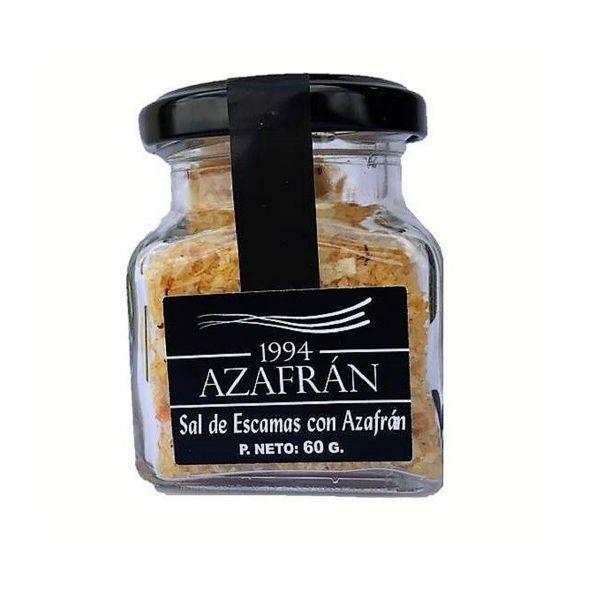 Azafran 1994 Safran Salz in Flocken - 60g weiche Kristalle aus marinem Natursalz verfeinert mit Azafran