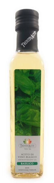 Basilikumessig - Weißweinessig mit Aroma - Basilikum Essig aus Italien - TrentinAcetia - 250 ml
