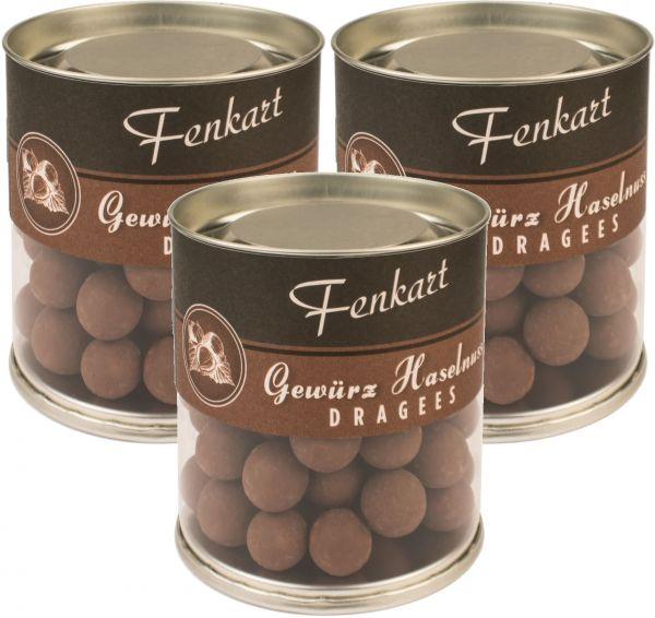 Gewürznüsse 3x 120g - Fenkart Schokoladengenuss - Schokoladen-Dragees Edelvollmichschokolade 42%