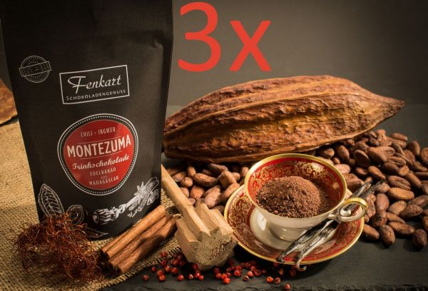 Trinkschokolade 3x Chili Ingwer 200g | Montezuma Kakao Natur aus kräftigem Edelkakao aus Madagascar