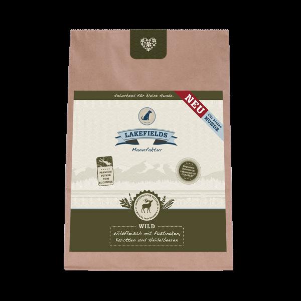 Lakefields Premium Trockenfleisch-Menü Wild FÜR KLEINE HUNDE Trockenfutter mit Pastinaken, Karotten