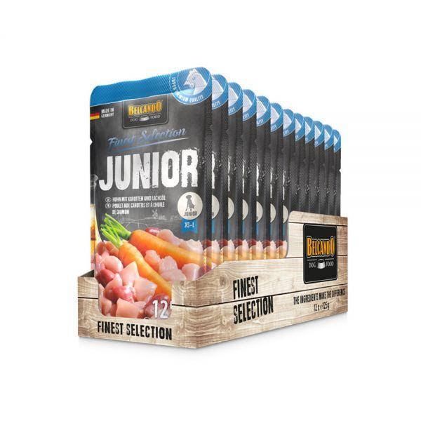 Belcando Frischebeutel [12x125g Junior Huhn mit Karotten  Nassfutter für Hunde   Feuchtfutter Allein