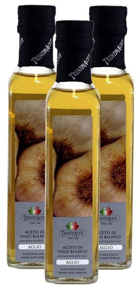 Knoblauchessig - Weißweinessig mit Aroma - Knoblauch Essig aus Italien - TrentinAcetia - 3x250 ml