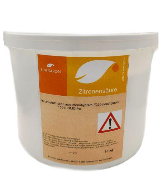 Zitronensäure von UNI SAPON 10Kg in Lebensmittelqualität E330, Bio, Entkalker