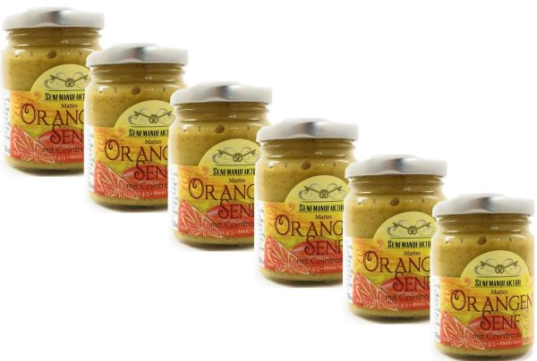 Feinster Orangen Senf von der Senf Manufaktur 6x 90 ml - Süßer Senf original aus Deutschland