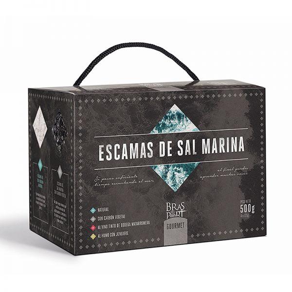 Meersalz Flocken - Flor de Sal - Fleur de Sel aus Spanien - 4 verschiedene Sorten a 125 g Pack