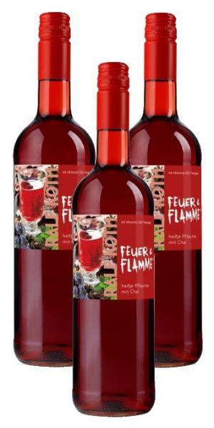 Glühwein Heiße Pflaume mit Chai 3x 0,75l - Feuer & Flamme - Prämiert aus Deutschland