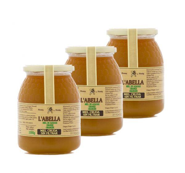 RAW Orangenblütenhonig aus Spanien - 3x 1Kg Ungefilterte Orangenhonig - Premium Qualität - Naturprod