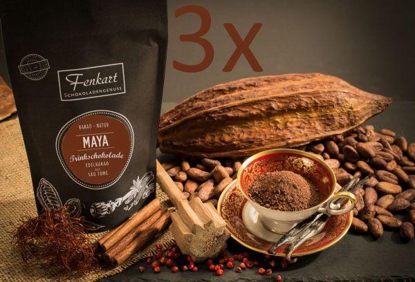 Trinkschokolade Maja 3x 200g | Kakao Natur aus kräftigem Edelkakao aus Sao Tomé Principe