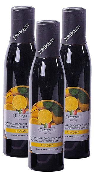 Zitronen Balsamico - Balsamico Creme mit Aroma aus Italien - 3x300 ml- Aceto Balsamico Di Modena IGP
