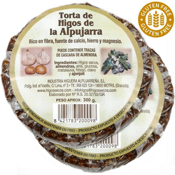 Original spanisches Feigenbrot mit Mandeln- 100 % natürlich- Glutenfrei und Vegan - rund - 2 x 300 g