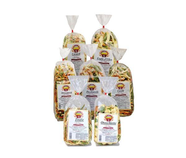Nudel Paket Tricolor 7x 500g - 3,5 Kg Nudeln original und traditionell aus Italien - trafila in bronzo