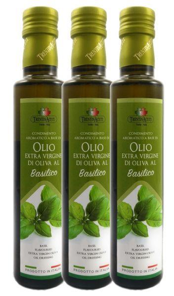 Extra Natives Olivenöl mit natürlichen Basilikumaroma aus Italien - höchste Qualität - 3x 250 ml