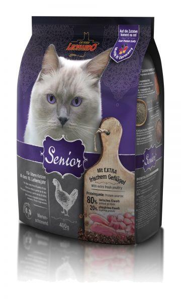 Katzen Trockenfutter - Senior mit Geflügel und Reis 400g - Leonardo Katzenfutter - leichtverdaulich