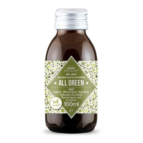 Organic Human - Bio Shot - All Green mit Ingwer, Weizengras, Spirulina