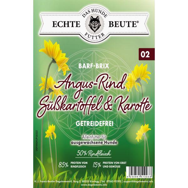 Dogelements-Echte Beute-Barf Brix Nr. 02 -2 Kg- Angus Rind, Süßkartoffel & Karotte