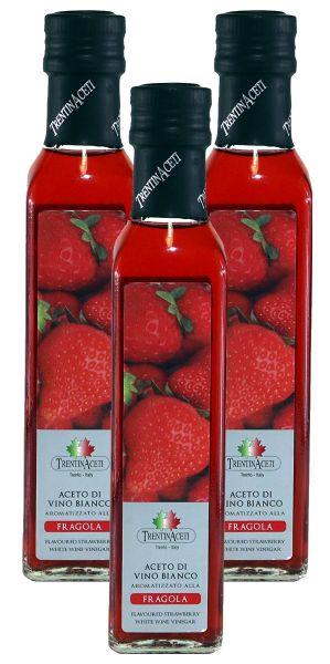 Erdbeeressig - Weißweinessig mit Aroma - Erdbeer Essig aus Italien - TrentinAcetia - 3x250 ml