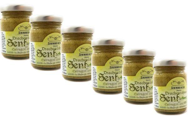 Feinster Estragon Kiwi Senf von der Senf Manufaktur 6x 90 ml - Süßer Senf original aus Deutschland