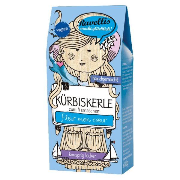 Ravellis Kürbiskerne in dunkler Schokolade mit Fleur de Sel (80 g) - Bio
