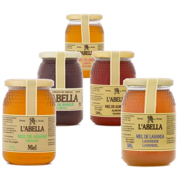 5 verschiedene Honigsorten aus Spanien - beste Qualität - reines Naturprodukt - 5 x 500 g - 2,5 kg
