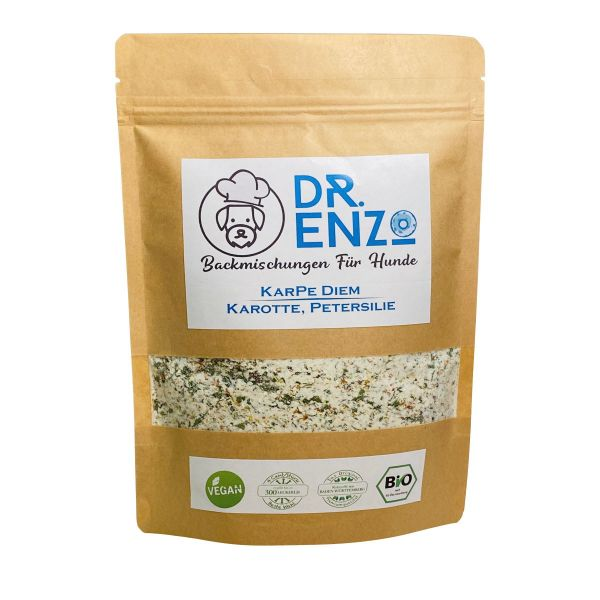 Dr. Enzo BIO Backmischung für Hundekekse - KarPe Diem - Karotte, Petersilie - 200g - nur 4ct pro Kek