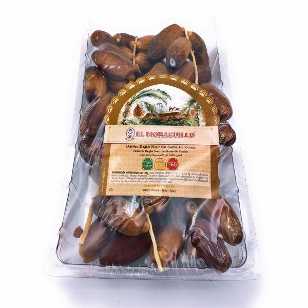 Deglet Nour getrocknete Datteln aus Tunesien - 100 % natürlich - an der Rispe und mit Kern - 500 g