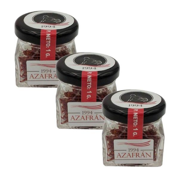 Azafran 1994 Safran Fäden - 3x1g Safran-Safranfäden in höchster Qualität aus Spanien-100% eigene Produktion