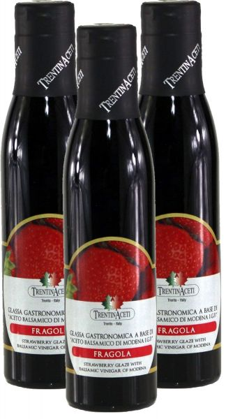 Erdbeer Balsamico - Balsamico Creme mit Aroma aus Italien - 3x300 ml - Aceto Balsamico Di Modena IGP