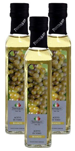 Weißweinessig - Weißwein Essig aus Italien - TrentinAcetia - 3x250 ml - Aceto di vino bianco