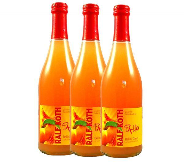 Palio - Bellini Secco mit Fruchtmark vom Pfirsich 3x 0,75l - Fruchtiger Perlwein