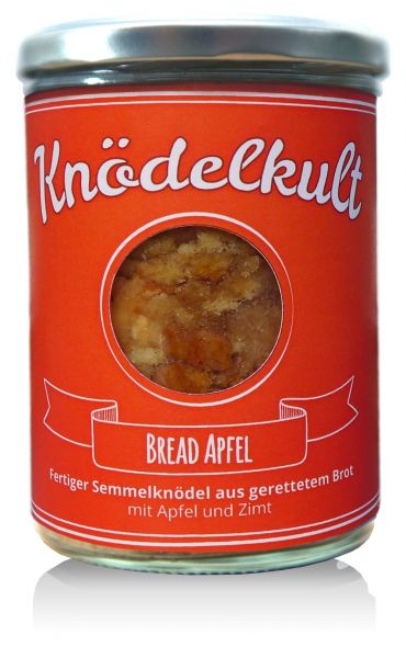 Knödelkult Bread Apfel - Semmelknödel mit Apfel und Zimt 350g Glas - gerettetes Brot