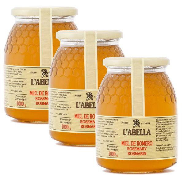 Rosmarinhonig aus Spanien - Premium Qualität - reines Naturprodukt - kaltgeschleudert- 3 x 1 Kg Glas