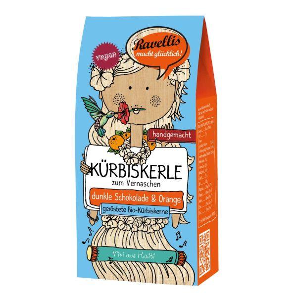 Ravellis Kürbiskerne in dunkler Schokolade mit Orange (80 g) - Bio