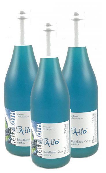 Palio - Blaue Beeren Secco mit Minze 3x 0,75l - Fruchtiger Perlwein - Prämiert aus Deutschland