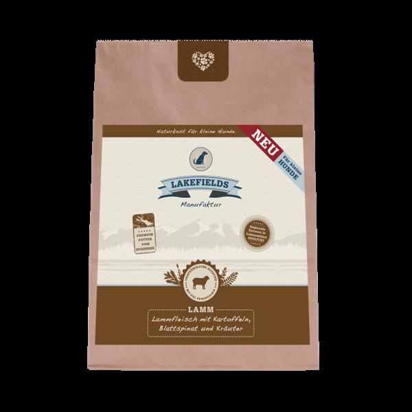 Lakefields Premium Trockenfleisch-Menü Lammfleisch FÜR KLEINE HUNDE mit Kartoffeln Blattspinat Kräut