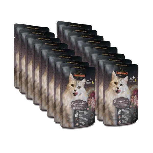 Leonardo Kaninchen + Cranberries, 16x85g Nassfutter für Katzen im Frischebeutel