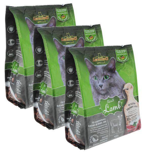 Katzen Trockenfutter - 3x Adult Lamb mit Lamm und Reis 400g - Leonardo Katzenfutter -leichtverdaulich