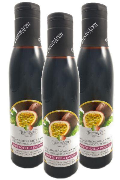 Passionsfrucht Balsamico - Balsamico Creme mit Aroma - 3x300 ml - Aceto Balsamico Di Modena IGP
