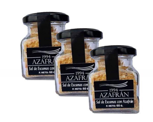 Azafran 1994 Safran Salz in Flocken - 3x 60g weiche Kristalle aus marinem Natursalz verfeinert mit Azafran