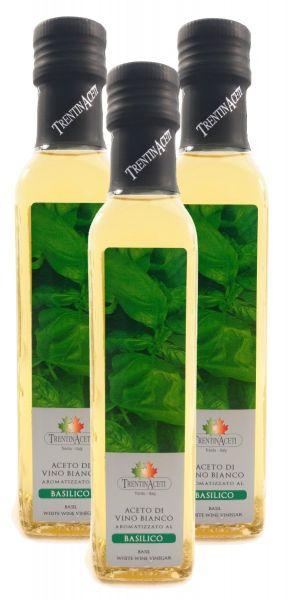 Basilikumessig - Weißweinessig mit Aroma - Basilikum Essig aus Italien - TrentinAcetia - 3x250 ml