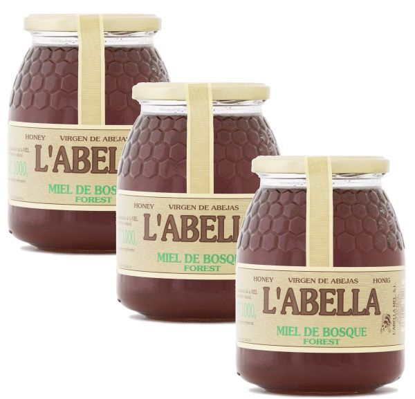 Waldhonig aus Spanien - Premium Qualität - aus Honigtau - reines Naturprodukt - 3 x 1 Kg Glas