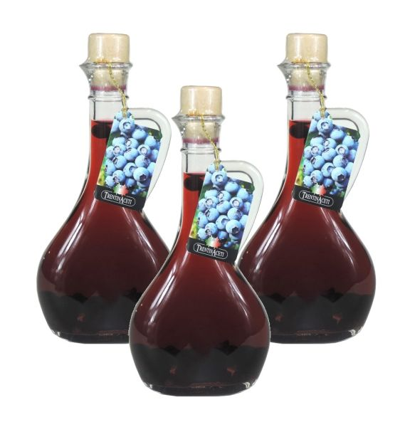 Blaubeeressig - Weißweinessig mit Aroma - Blaubeer Essig aus Italien - TrentinAcetia - 3x 250 ml