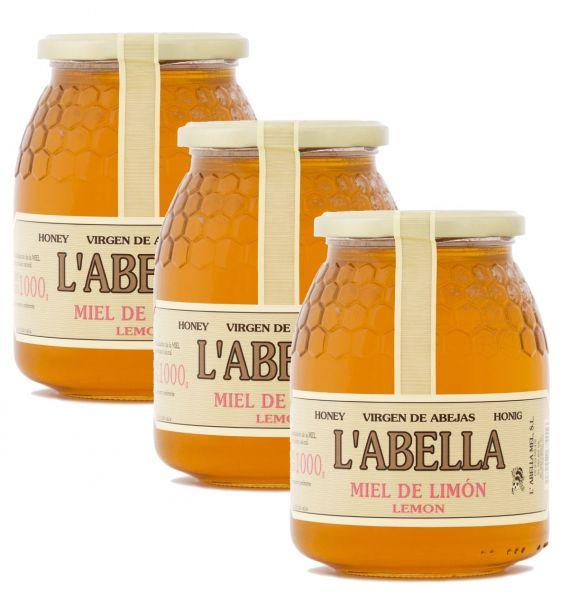 Zitronenblütenhonig aus Spanien - Zitronenhonig - Premium Qualität - Naturprodukt - 3 x 1 Kg Glas