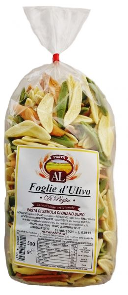 Frische Foglie d'Ulivo Tricolor Nudeln aus Italien 500g – trafila in bronzo - Olivenblatt Nudeln