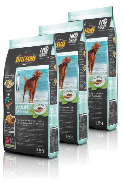 Hunde Trockenfutter - 3x Adult GF Ocean mit Fisch 1kg - Belcando Hundefutter - getreidefrei