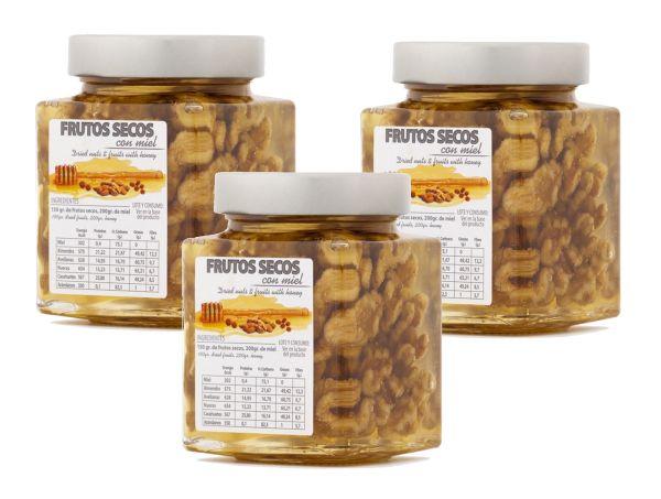 In spanischen Honig eingelegte Walnüsse - einzigartiges Produkt mit tollem Geschmack- 3 x 450 g Glas