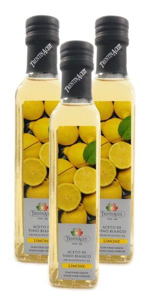 Zitronenessig - Weißweinessig mit Aroma - Zitronen Essig aus Italien - TrentinAcetia - 3x250 ml