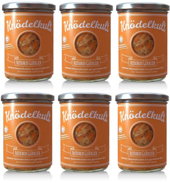 6x Knödelkult Fleischlos Glücklich - Semmelknödel mit Karotten und Curry 350g Glas - gerettetes Brot